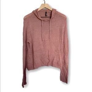 Absolutely Women's Pink Loose Knit Hooded Sweater
